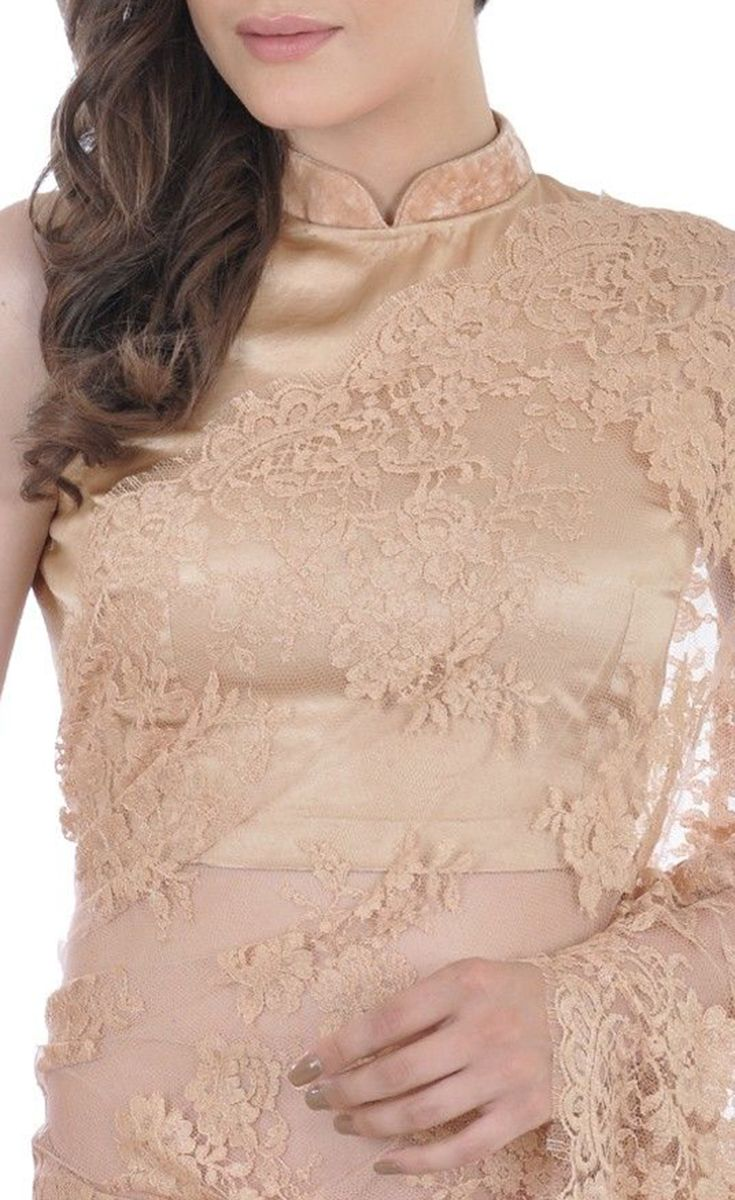 b217254a85133 Beige-Gold French Chantilly Lace Saree With Satin Crepe Blouse ...