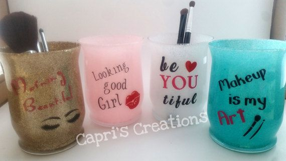 Makeup brush Holder/ Makeup Lover Gift/ Glitter Jar/ Cosmetic Holder/Bathroom Decor