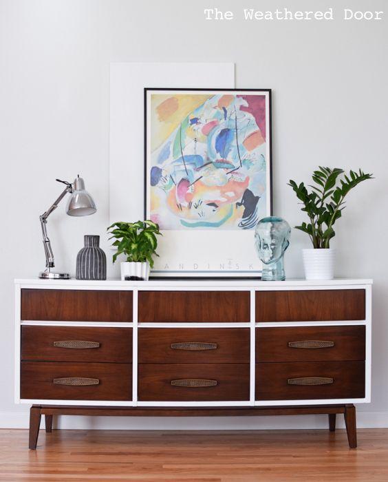 Best Mid Century 9 Drawer Dresser In Gloss White And Dark Wood 400 x 300