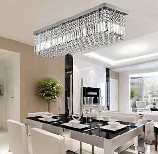 Siljoy Rectangular Raindrop Crystal Chandelier Lighting Modern Interesting Dining Room Flush Mount Lighting Inspiration