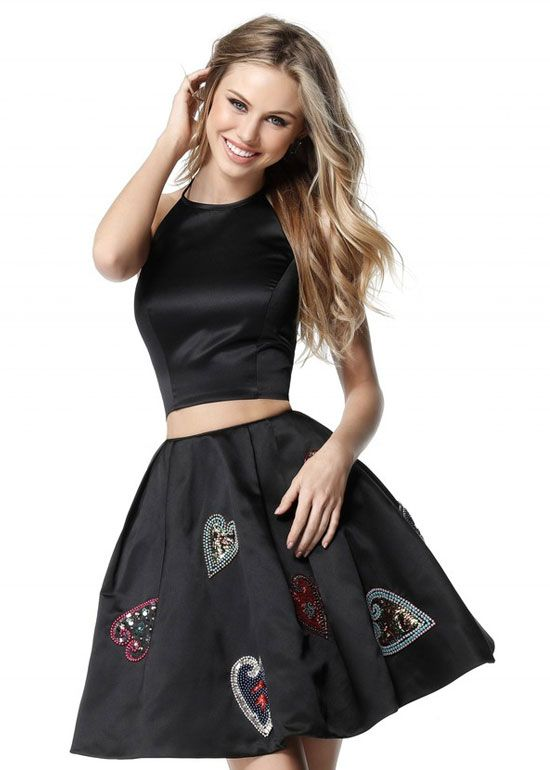 e8c3b78e4e 2017 Classy Two Piece Black Homecoming Dress With Sequin Heart Detail