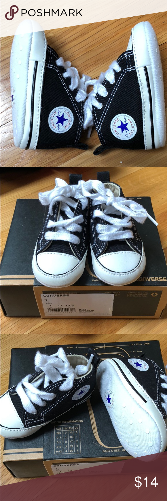 8f08de0743b9 NEW Baby Converse First All Star size 1 New never worn! Blacks and white infant  converse soft sole sneakers. Size 1 (0-3 months). Comes in original box.