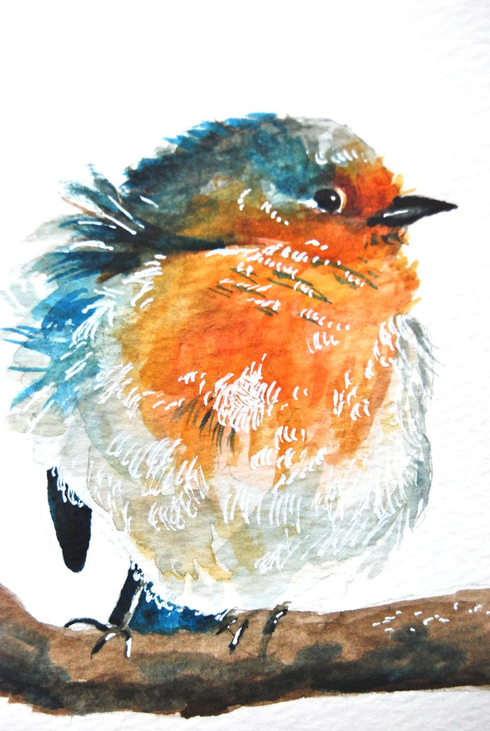 Watercolor Painting, Original, Blue Bird, 6\