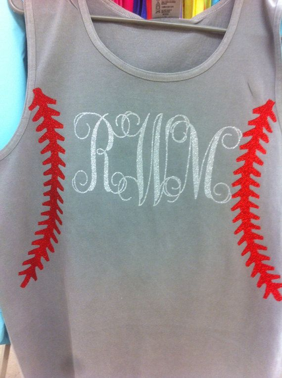 0dc9cfdbfac17 Comfort colors baseball tank with glitter monogram on Etsy, $25.00 ...