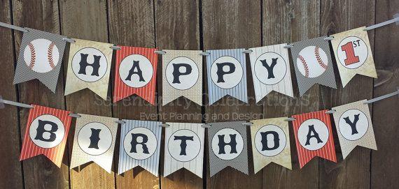 personalized happy birthday banner vintage baseball birthday