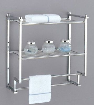 2 Tier Towel Shelf Organize Rack Chrome 2 Bar Storage Bathroom Space Saver Bathroom Wall Shelves Over Toilet Storage Towel Rack