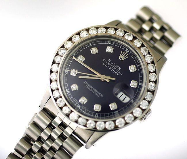 Rolex Datejust Steel Watch, With 4 Carat Diamond Bezel & Purple Diamond Dial #Rolex #LuxuryDressStyles