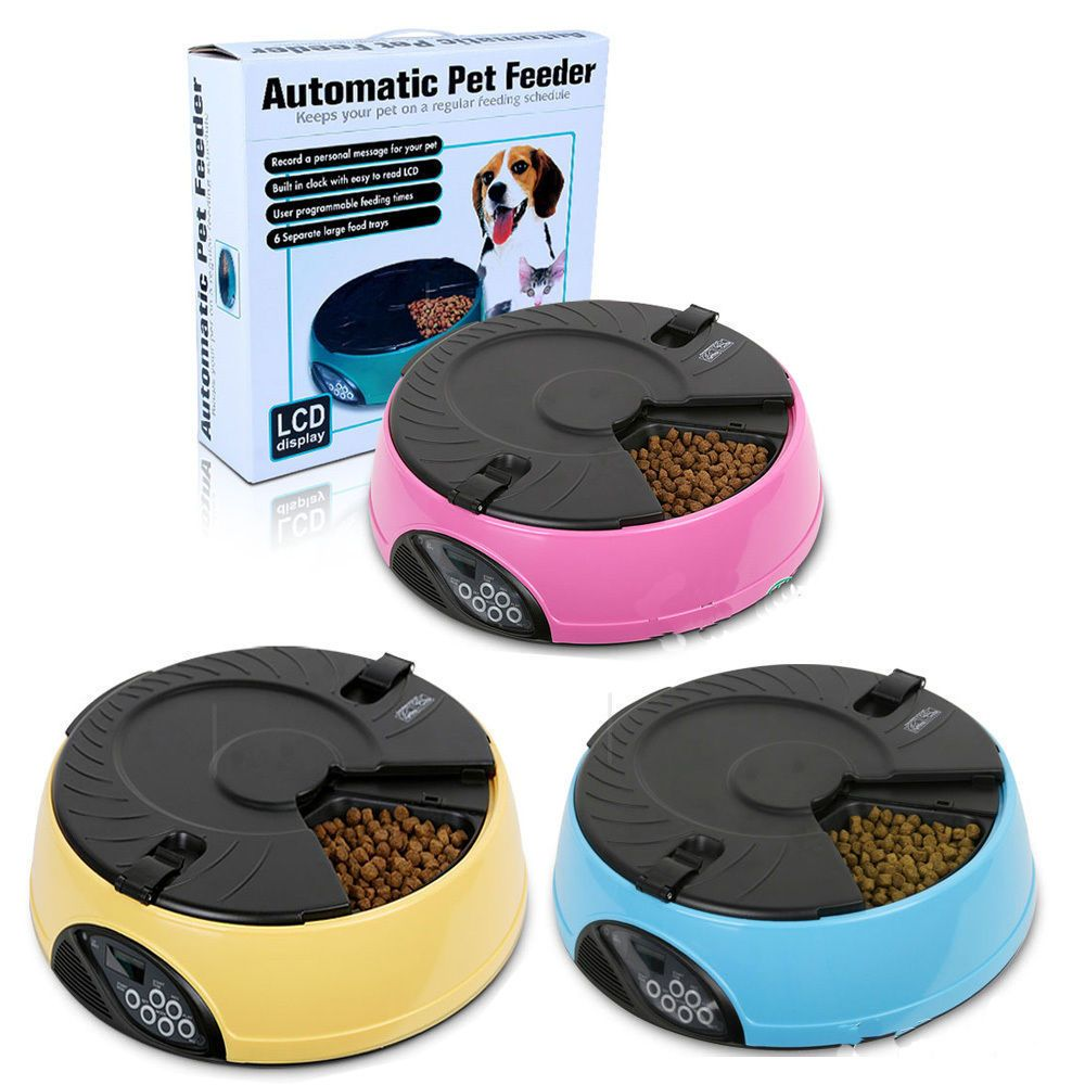 6 meals timed lcd digital automatic pet feeder auto dog