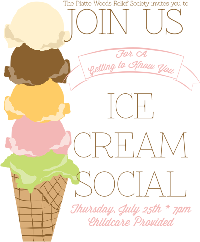 Art Social Calendar : Ice cream social poster handmade in the heartland