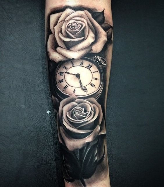 c851757c4c26b Relistic pocket watch and rose forearm tattoo - 100 Awesome Watch Tattoo  Designs <3 <3