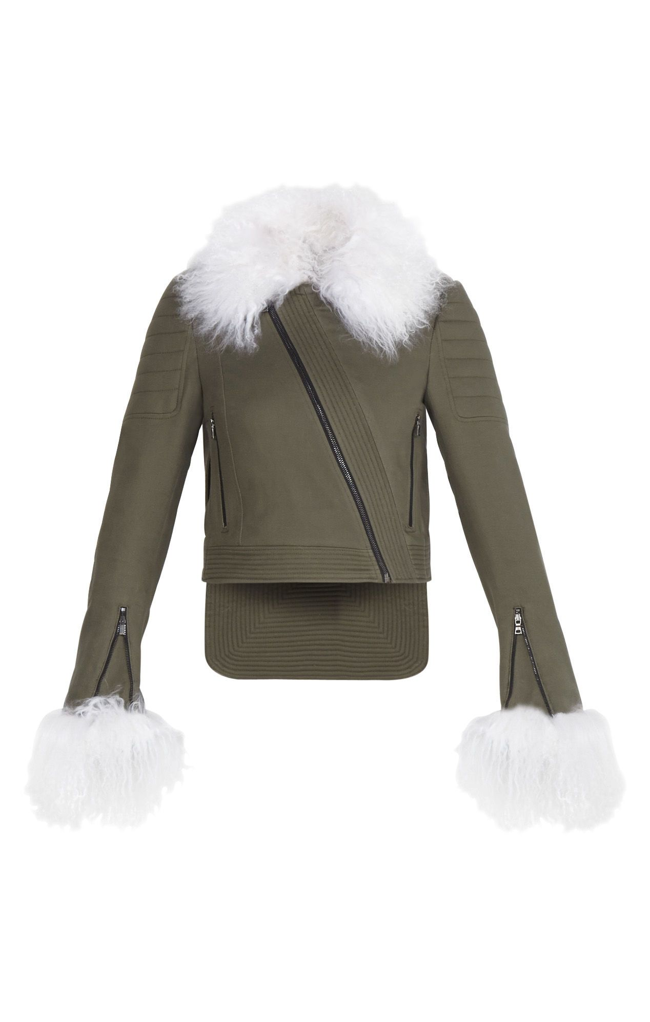 This versatile piece creates a fresh take on the urban-grudge aesthetic with an unexpected mix of olive-toned twill and contrast lamb fur. Trapunto stitching and asymmetrical zipper details add an effortless utilitarian effect. Victor Jacket
