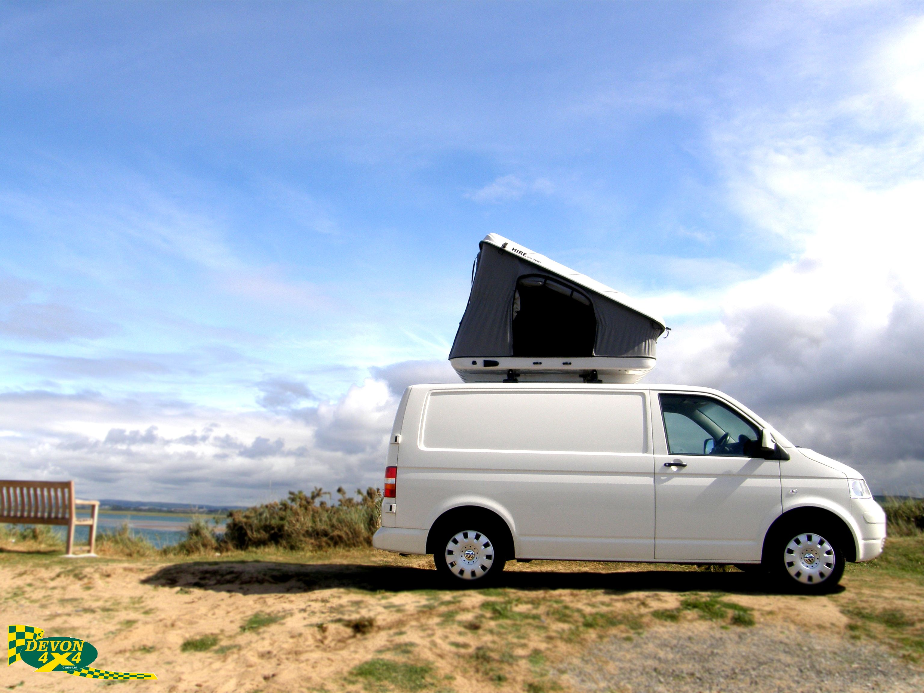 This is a Volkswagen Transporter Van with a James Baroud Discovery Space Evolution Roof Top Tent ... & Hereu0027s a photo from our photoshoot down at Crow point Braunton ...