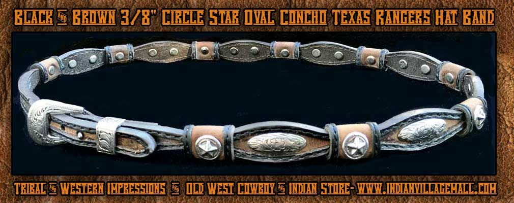 """Black And Brown 3/8"""" Circle Star Oval Concho Texas Rangers Hat Band"""