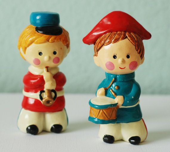 Vintage Christmas Soldier Drum and Horn Figurines by RSWVintage, $10.00