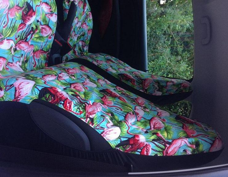 AIRBAG FRIENDLY CAR SEAT COVERS PINK FLAMINGO RETRO DESIGN FRONT