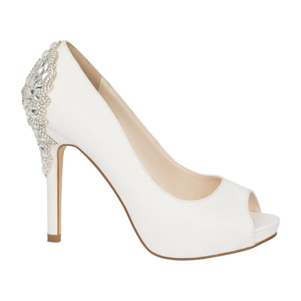 4c2bf1ea6 De Blossom Bridal Women's White Shimmer Peep Toe Pump with Rhinestone  Embellished Back Detail- White, High Heels- De Blossom Collection