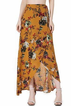 e914c4f963 Yellow High Waist Floral Pattern Wrap Boho Maxi Skirt @ Skirts,Maxi Skirt,Pencil  Skirt,Leather Skirt,Plaid Skirts,Mini Skirts,Short Skirts,High Waisted ...