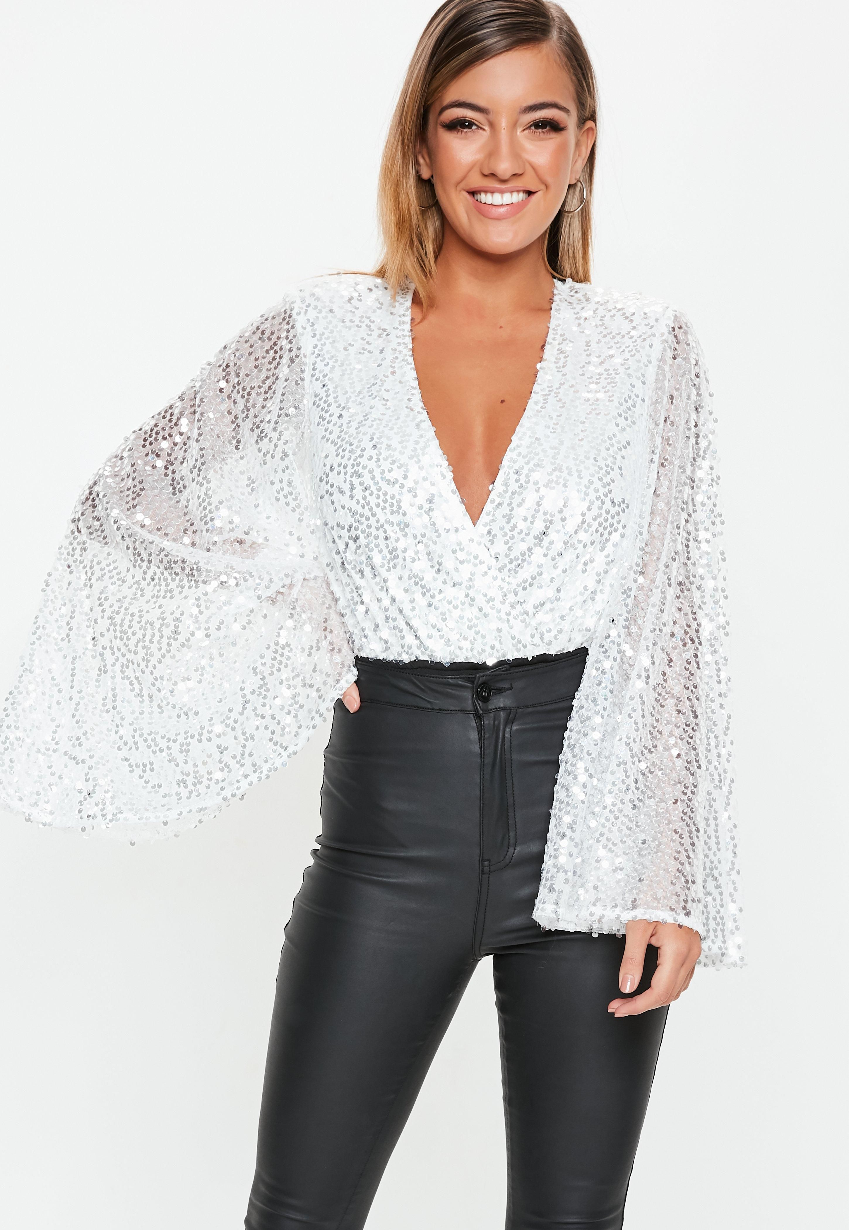 f0339fc0cb7866 From crop tops & camis to shirts & bodysuits - just take a look! white -silver-sequin-plunge-bodysuit