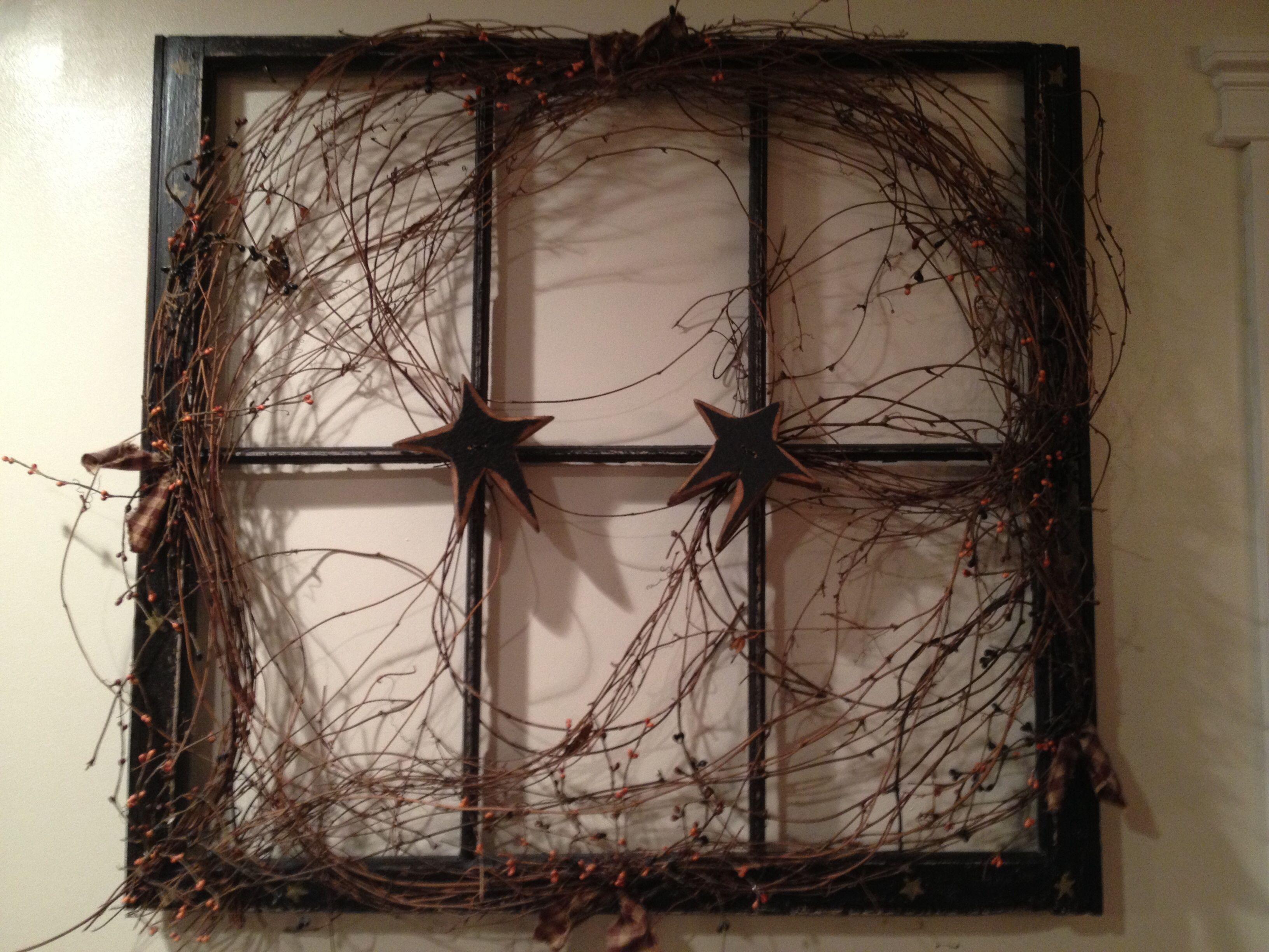 Idea by Paula Chapel on Upcycle   Primitive decorating ...  Primitive Window Frame Decor
