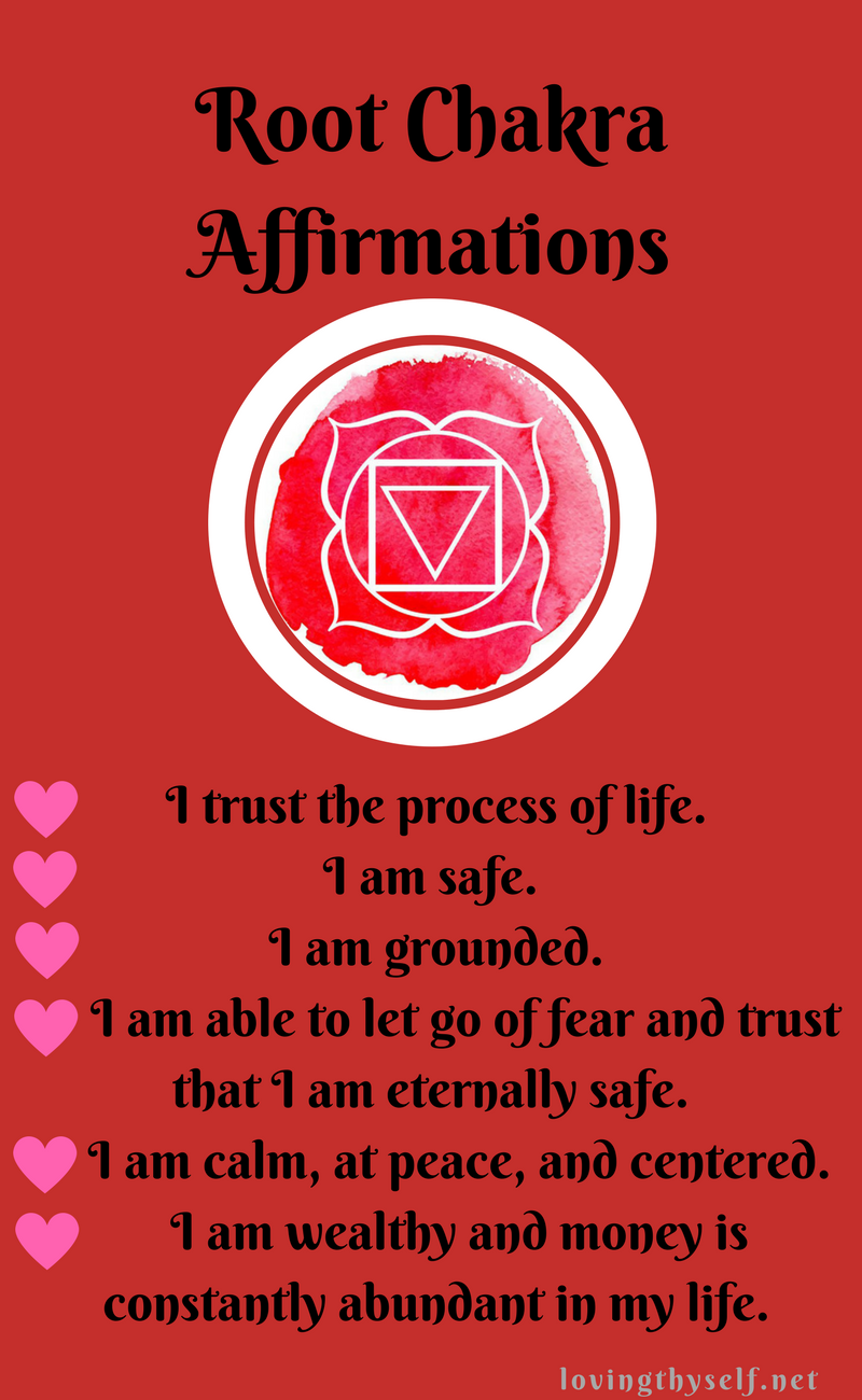 Chakra affirmations to heal your life! When we repeat these daily we start to feel more grounded and less I'll.   Curious?   Click now and find out: lovingthyself.net