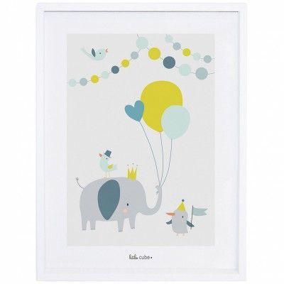 Affiche encadrée éléphant ballon garçon animals party by sarah betz 30 x 40 cm chambre jaunedéco chambre bébéaffiche