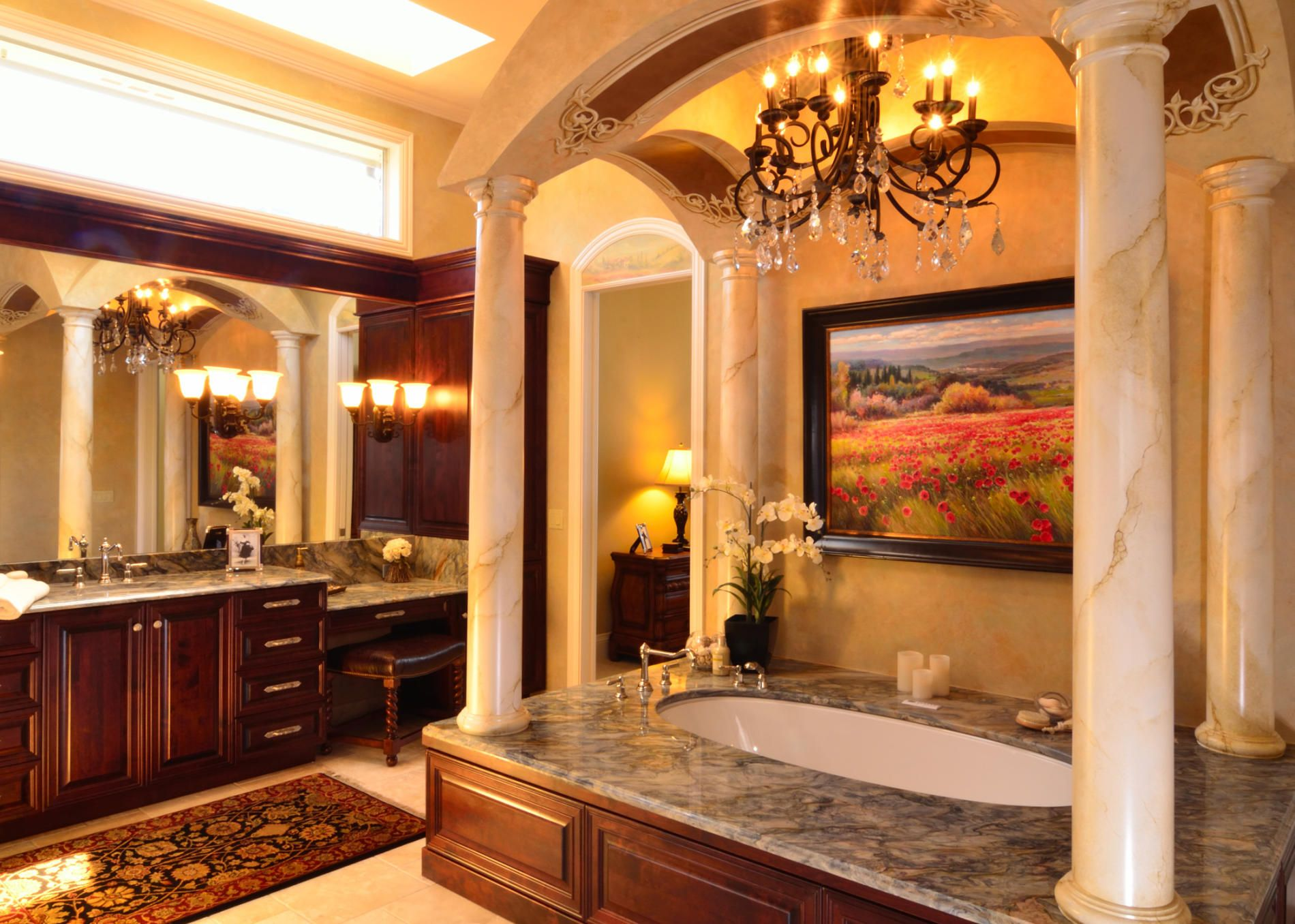 Tuscan style master bathroom ashley salzmann designs for Tuscan design ideas