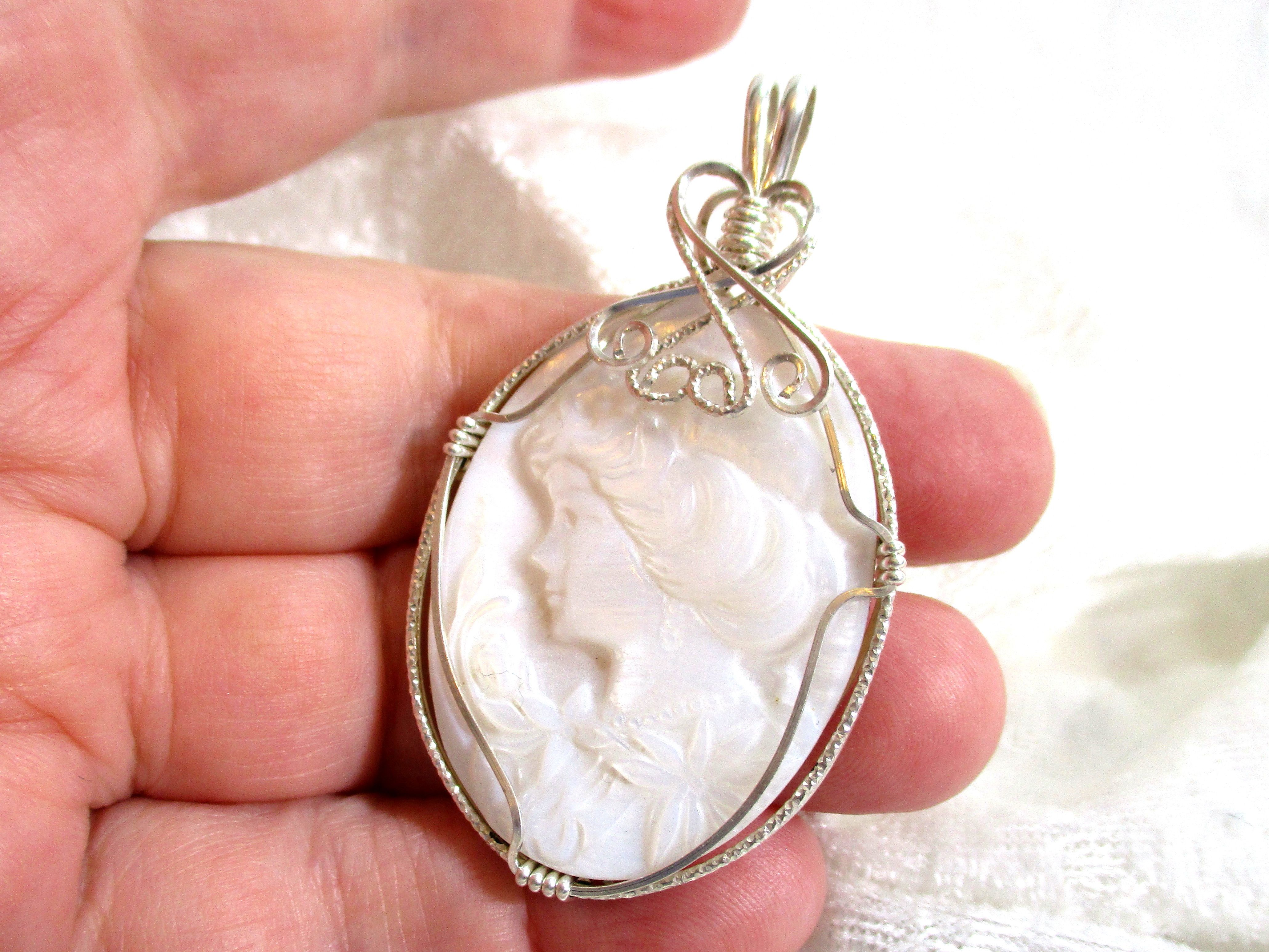 009f83c92 Carved Cameo Pendant, Mother of Pearl Pendant, White Shell Pendant 935 Sterling  Silver Wire Wrapped in Argentium Anti Tarnish wire