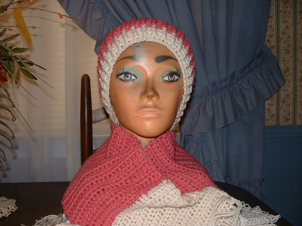 Crocheted Rose & Creme  Women Accessorie Scarf & Benie Hat Set NEW Handmade  #Handmade #LongScarfHatBenie