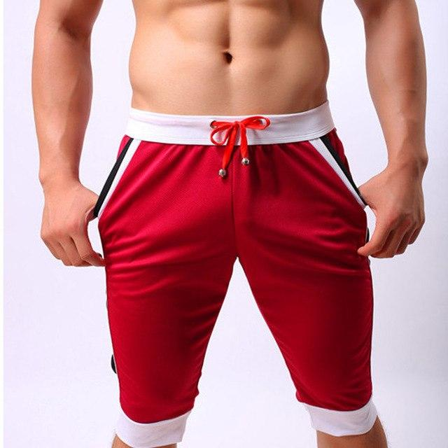 718a4155863ab Summer Men`s Beach Shorts Brand Trunks Sexy Breathable Drawstring Pouch  Sexy Three Quarter Sportswear