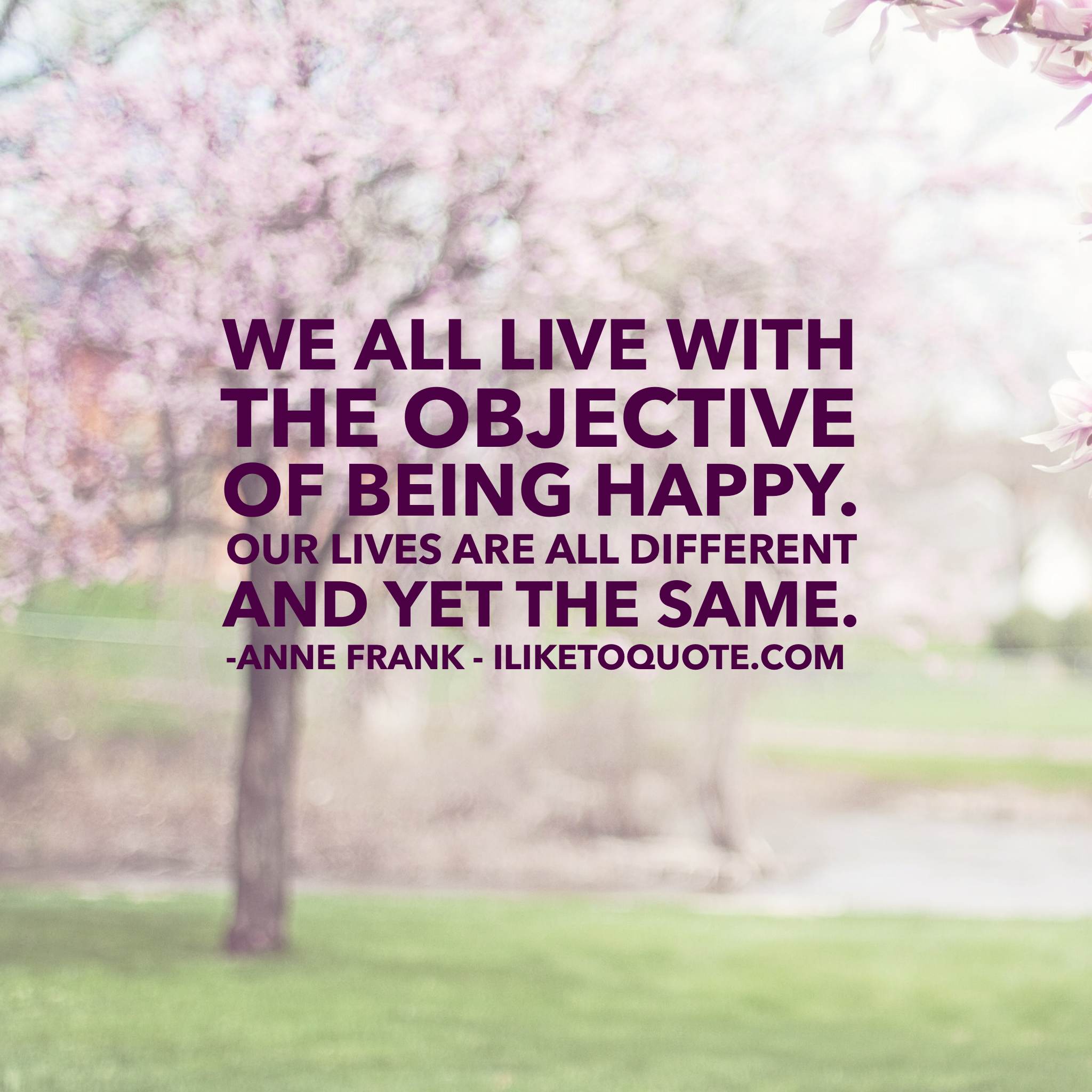 We all live with the objective of being happy. Our lives are all different and yet the same.  #happinessl #quotes #annefrank