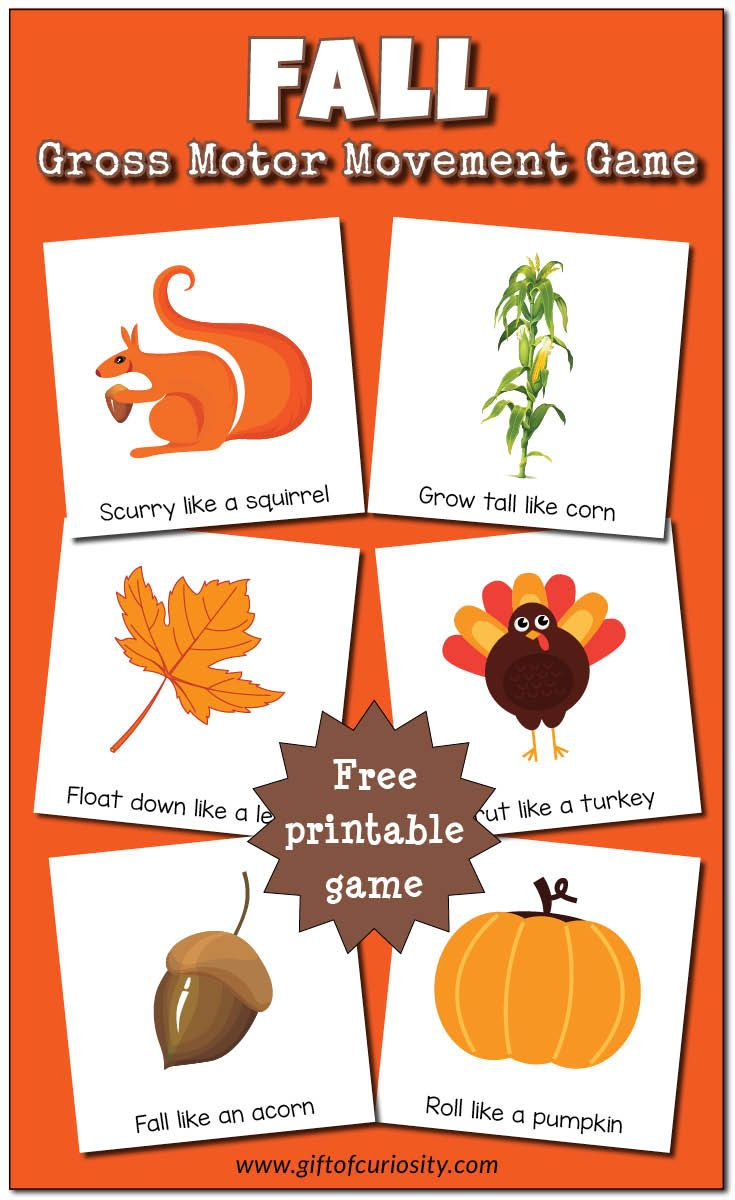 Fall Gross Motor Movement Game Free Printable Gross