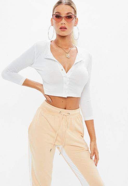 334addf6947 Missguided White Button Front Crop Top in 2019 | Lauren Michelle ...