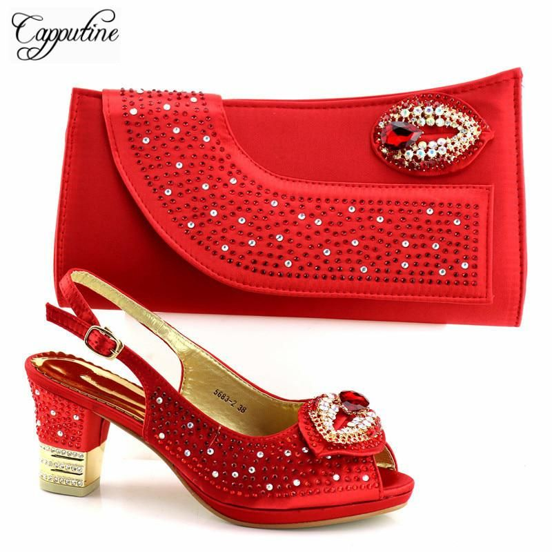 2d7c3988265 Capputine Italian Red Color Woman Shoes And Bag Set Europen Style Women  Pumps 7CM Shoes With Evening Bag Set For Party TX-5682. Yesterday s price   US  78.00 ...
