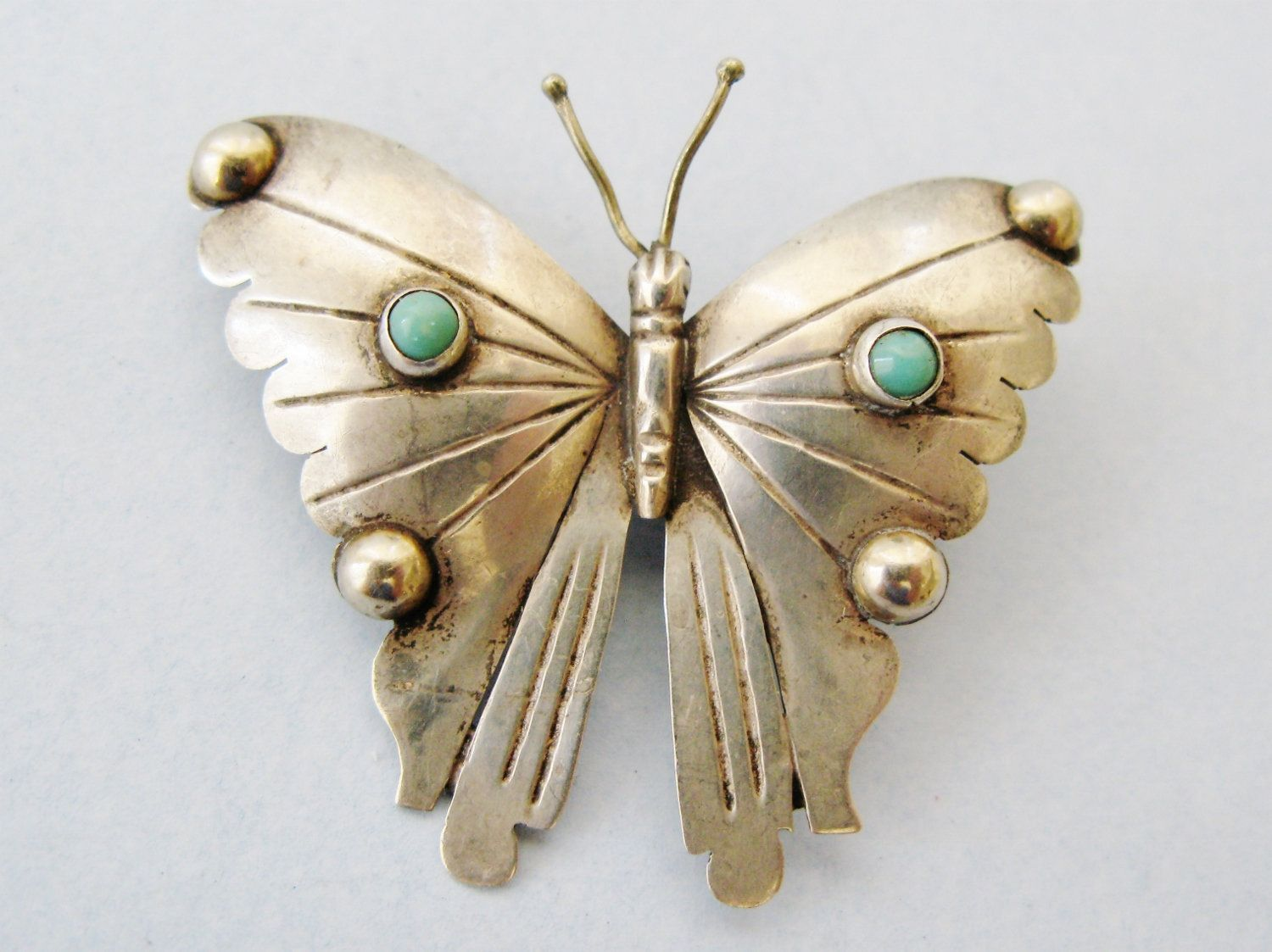 b281bf3cc19e1 Turquoise Sterling Silver Butterfly Brooch, Made In Mexico, Pre ...