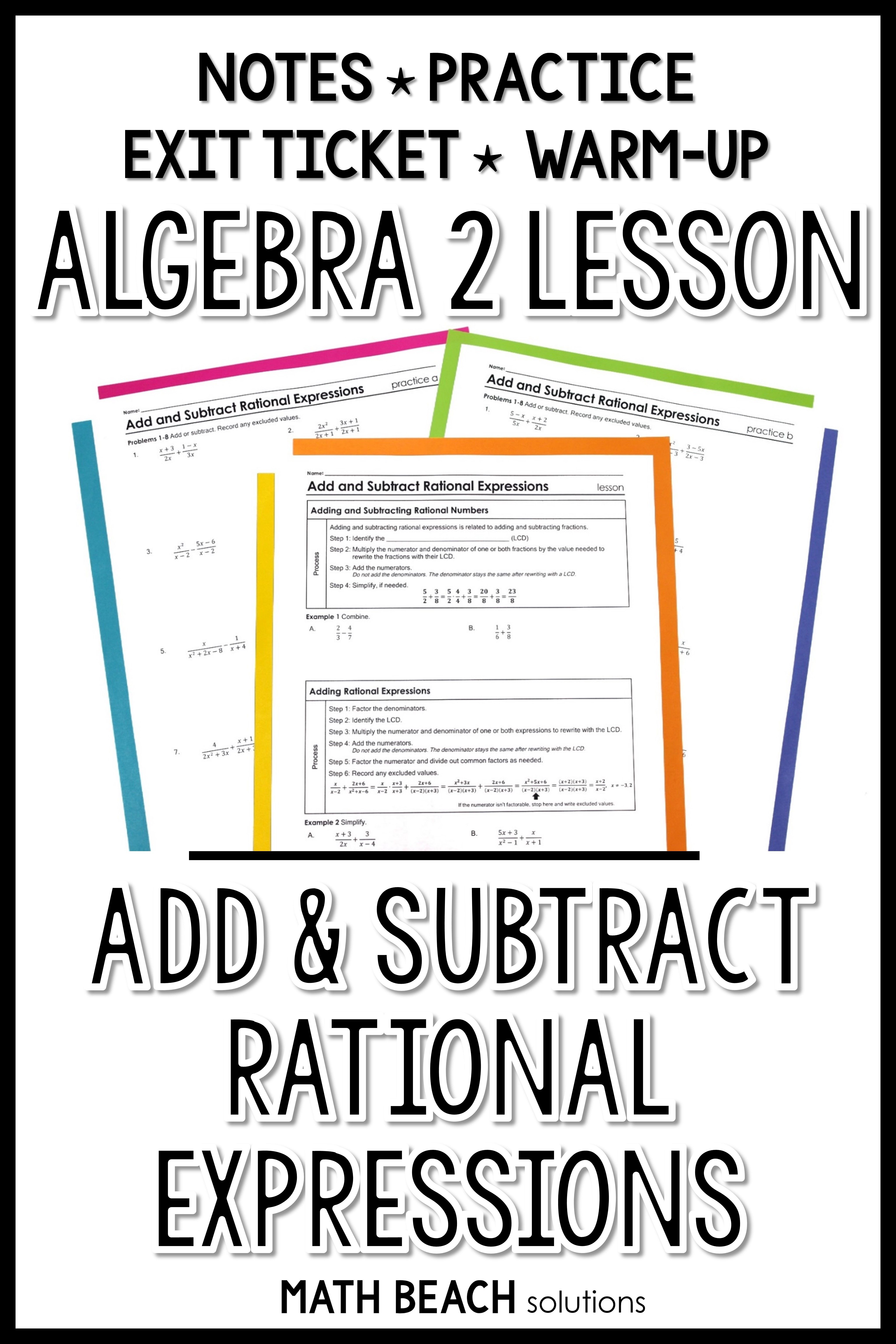 Add And Subtract Rational Expressions Lesson Rational Expressions Math Expressions Algebra Lesson Plans