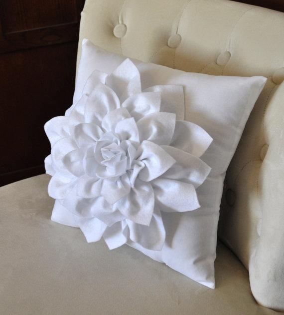 Dahlia Felt Flower On White Pillow Mum Flower By Bedbuggs On Etsy