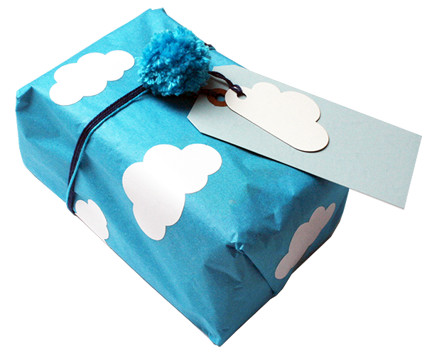 Tissue paper, cloud stickers, cloud tags, blue tags & handmade cotton pom poms  all from us at www.kidspartykitchen.nl