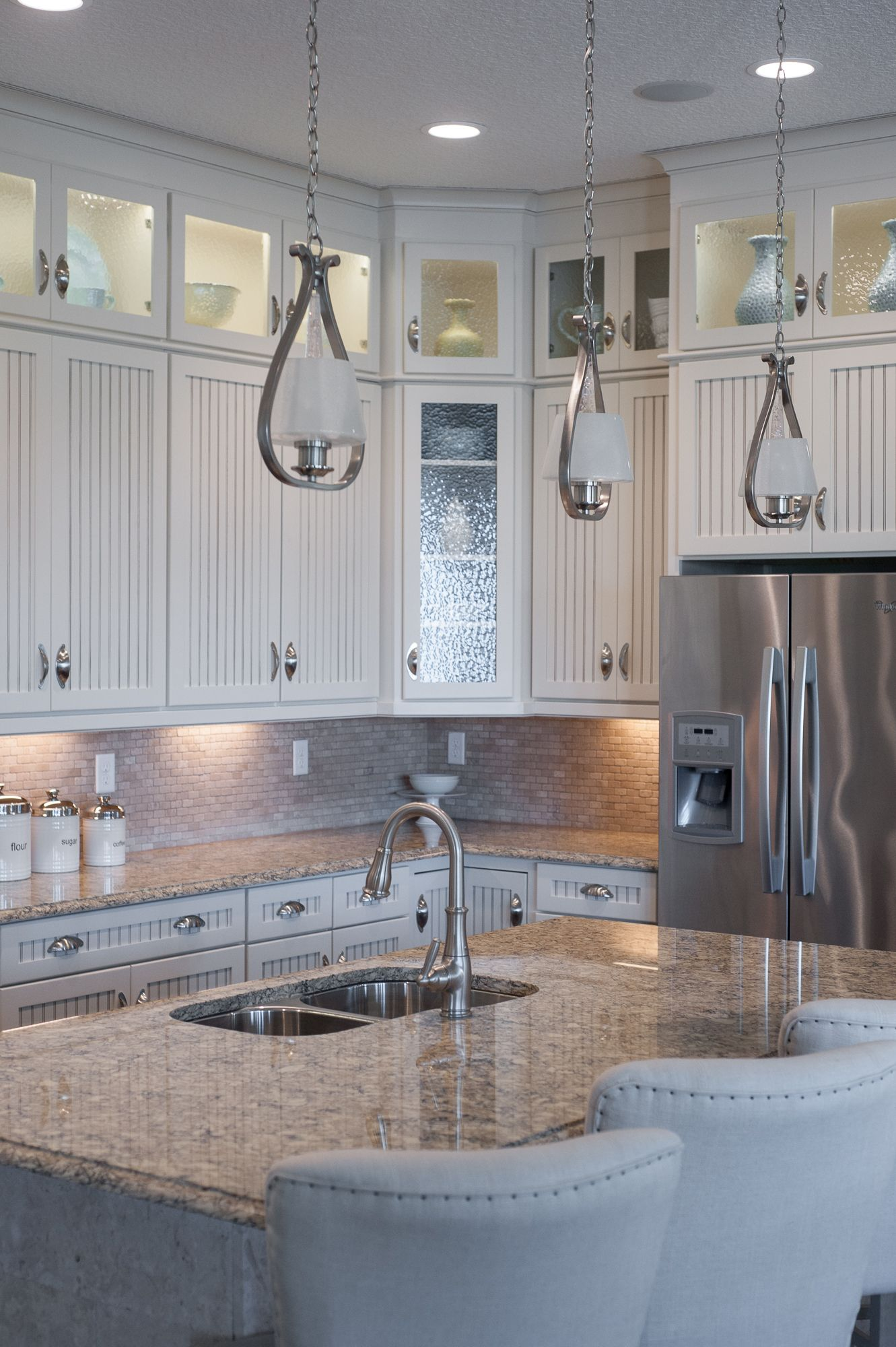 With Pendant Fixtures Recessed Lights And Under Cabinet Lights This Kitchen Has It All Progress Lighting Kitchen Worktop Under Cabinet Lights