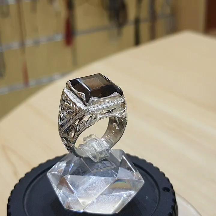 خاتم رسمي فاخر صغنا لكم خاتم اسموكي كوارتز يمني مميز طبيعي 100 Smoky Quartz Video Wedding Rings Rings Engagement Rings