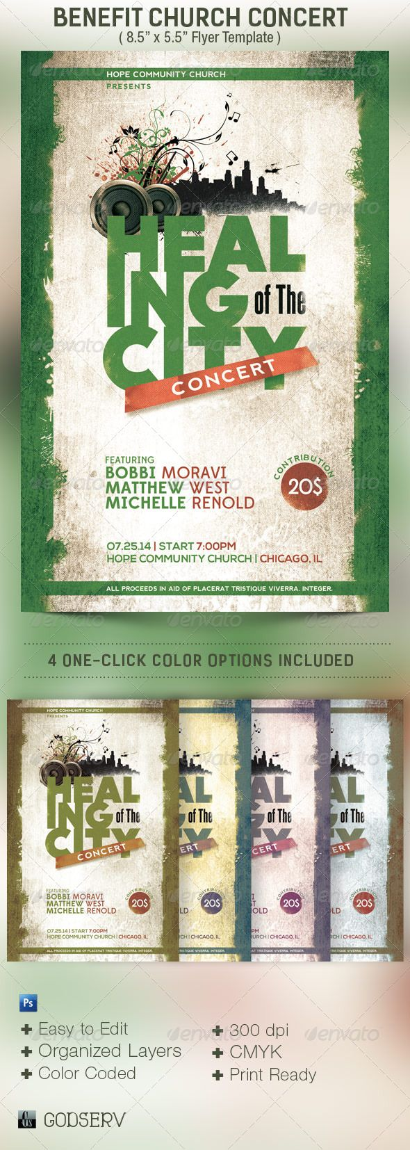 Benefit Concert Church Flyer Template  Flyer Template Benefit
