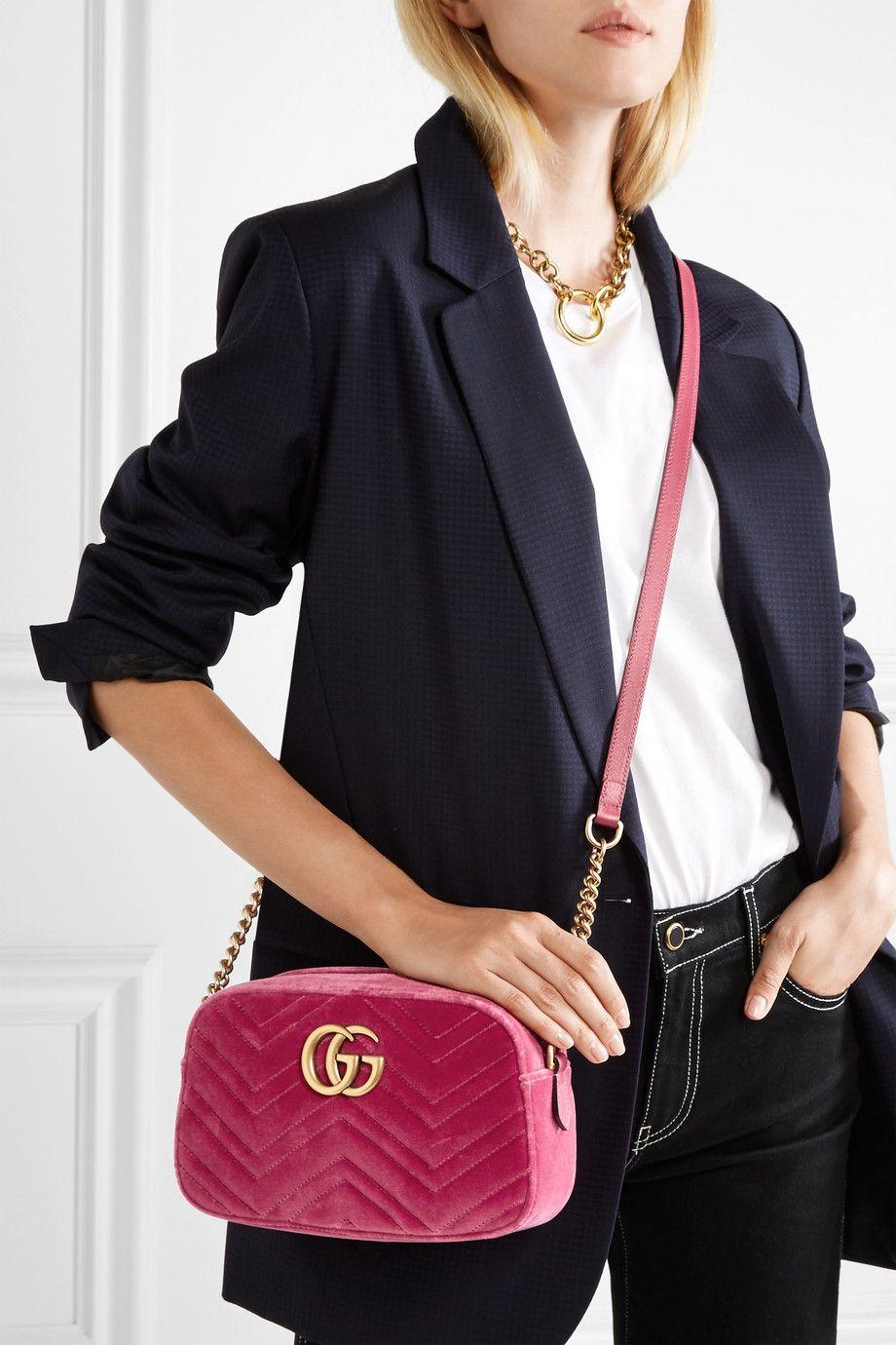 07bec6aca Gucci   GG Marmont Camera mini leather-trimmed quilted velvet shoulder bag    NET-A-PORTER.COM