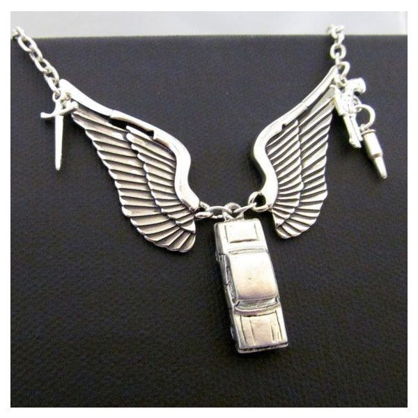 Destiel A Dean Winchester Castiel Supernatural Inspired Necklace ❤ liked on Polyvore featuring jewelry, necklaces and supernatural