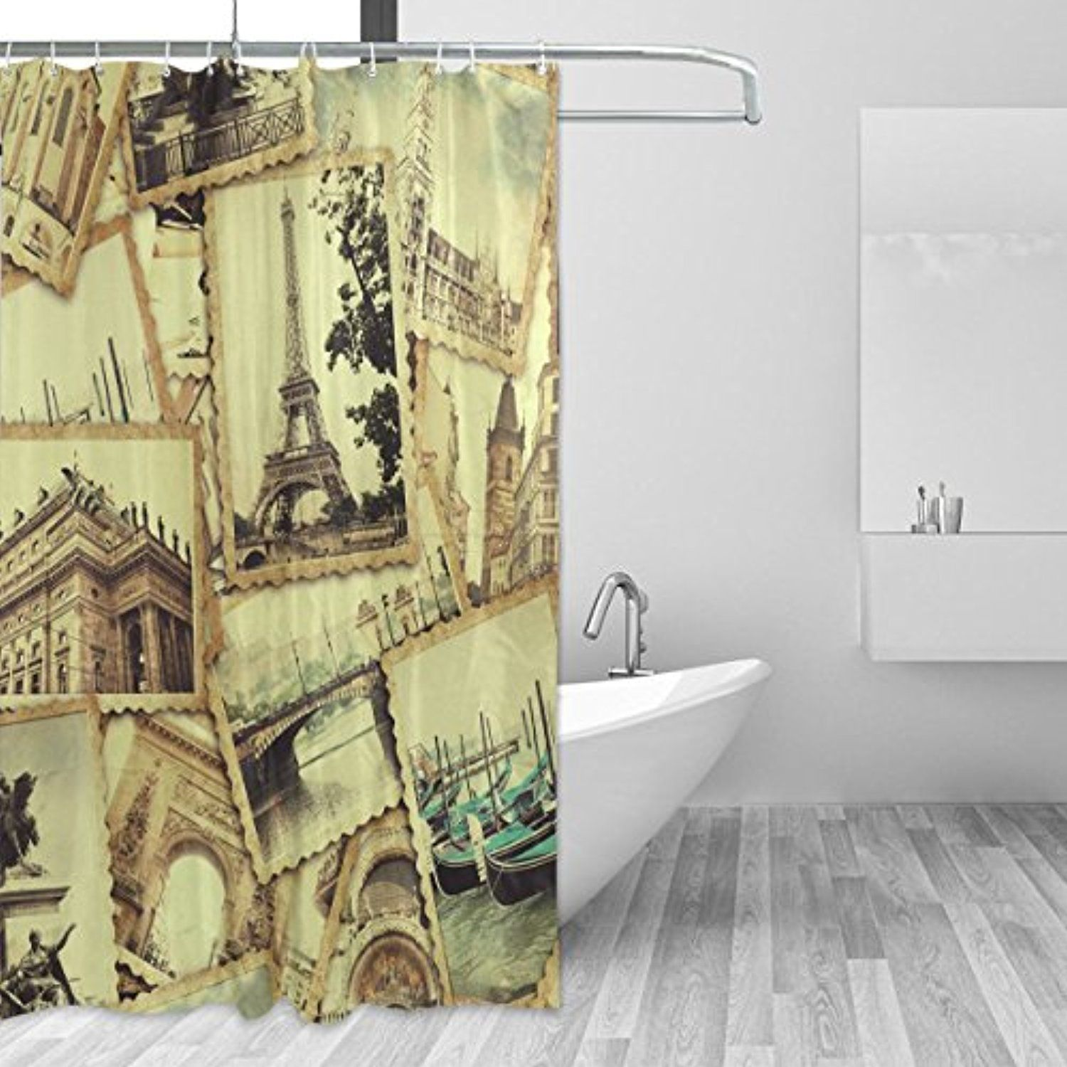 WellLee Collage Old Photo Traveling Collections Shower Curtain ...