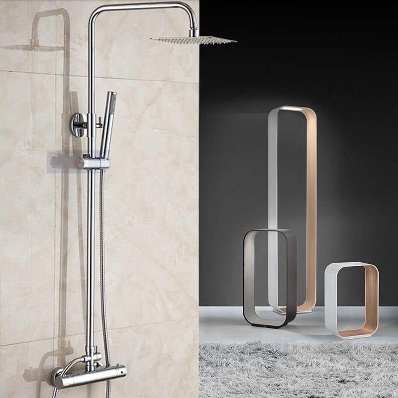 Chrome Thermostatic Bathroom Shower Set Square Shower Faucet Thermostatic Mixer 8 10 12 Shower Head Mixing Valve Wall Stroitelstvo I Nedvizhimost In 2019