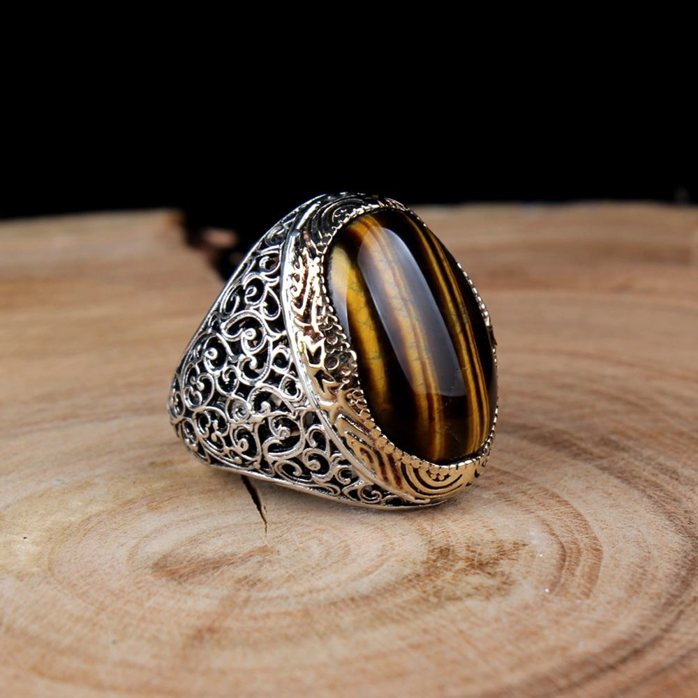 Classic Tiger's Eye Men Ring   Boutique Ottoman Exclusive ...