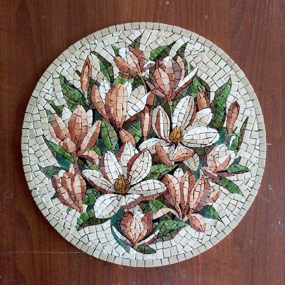 Marble Mosaic Magnolia, Mosaic Magnolia, Painting Magnolia, Wall Art Magnolia, Roman Mosaic, Home Decor Magnolia, Round Mosaic, Magnolia Art #marblepainting