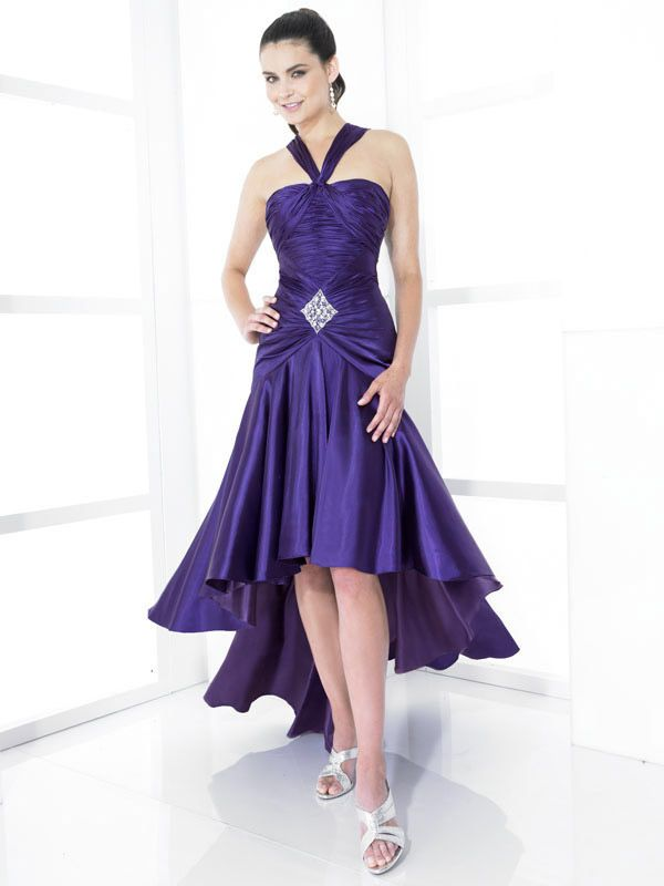 A-line Straps Elastic Woven Satin Asymmetrical Purple Beading Prom ...