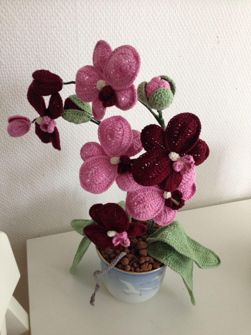 hæklede orkideer