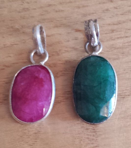 Set of 2 Gemstone Pendants - Ruby and Emerald - 925 Silver