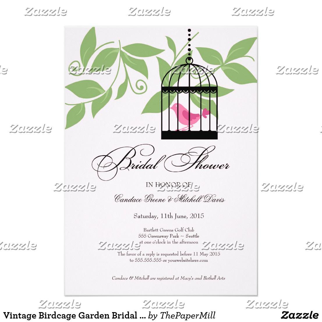 Vintage Birdcage Garden Bridal Shower Invitations | Garden bridal ...